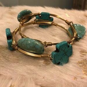 Jewelry - Turquoise and gold bangle bracelets. Set of 2.